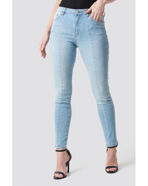 4aec7d50da35 ... NA-KD - Skinny Mid Waist Front Panel Jeans Light Blue - Lyst ...