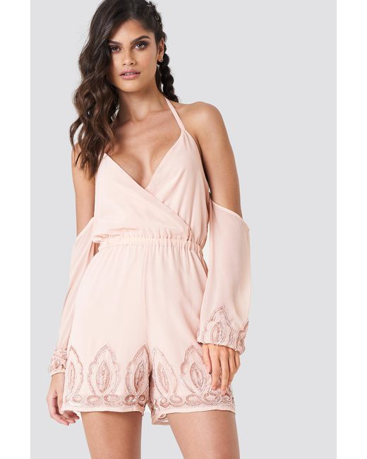 NA-KD - Natural Cold Shoulder Embellished Playsuit - Lyst