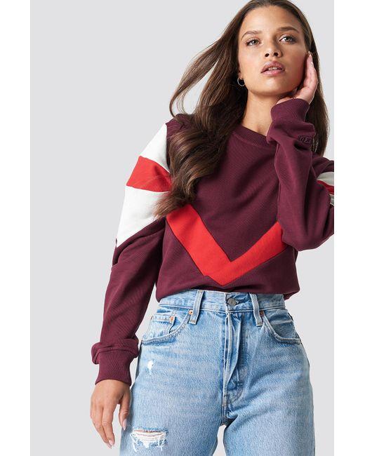 NA-KD - Multi Blocked Sweatshirt Dark Red - Lyst