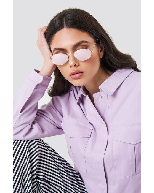 NA-KD - Oval Metal Sunglasses Light Purple - Lyst