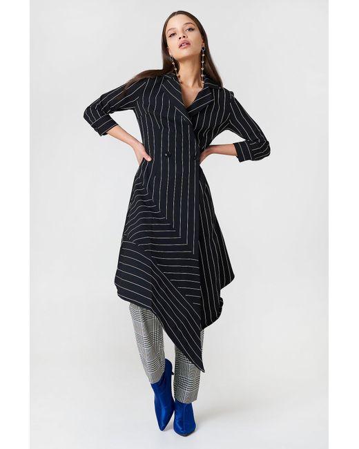 648a32f8b17 Trendyol Stripe Asymmetrical Dress Black in Black - Lyst