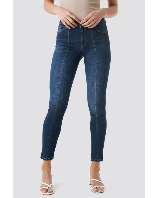 e43528be4b8f ... NA-KD - Skinny Mid Waist Front Panel Jeans Dark Blue - Lyst ...