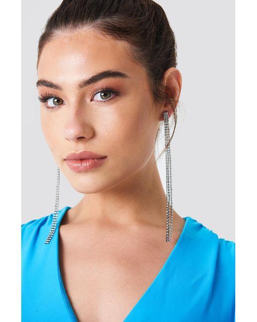 NA-KD - Black Hanging Rhinestone Earrings - Lyst