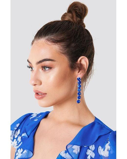 NA-KD - Blue Hanging Row Stone Earrings - Lyst