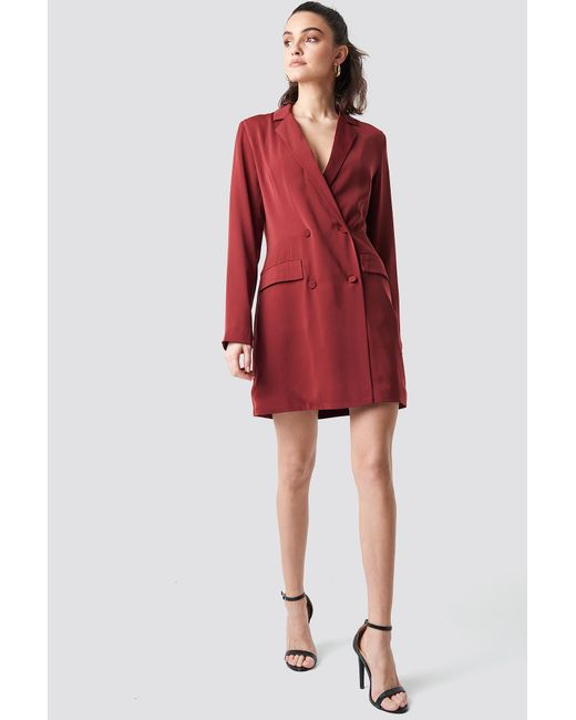 33b8e510f1fc NA-KD - Red Double Breasted Blazer Dress Dark Burgundy - Lyst ...