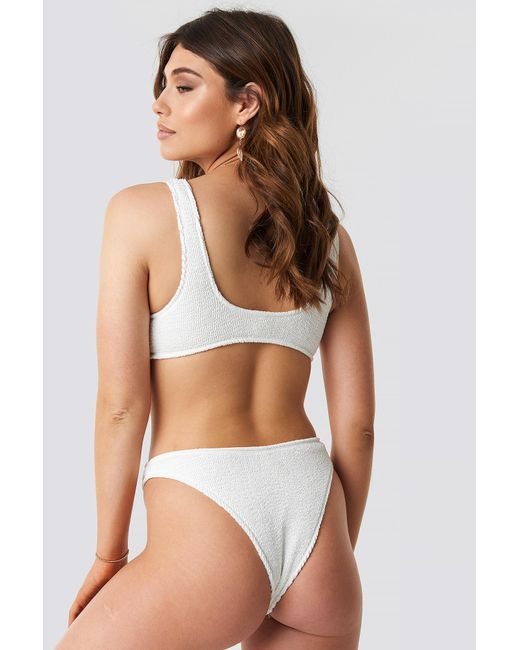 4bd92a81ebe NA-KD Smocked High Cut Bikini Panty White in White - Lyst