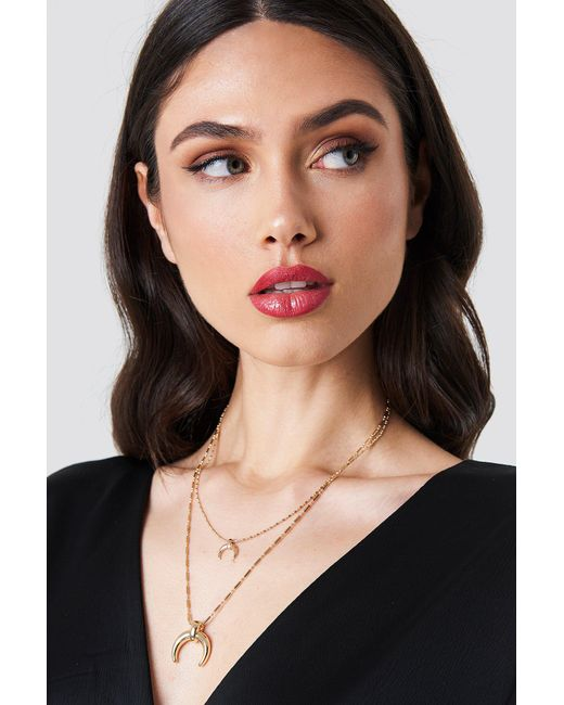 NA-KD - Metallic Double Crescent Structured Chain Necklace - Lyst