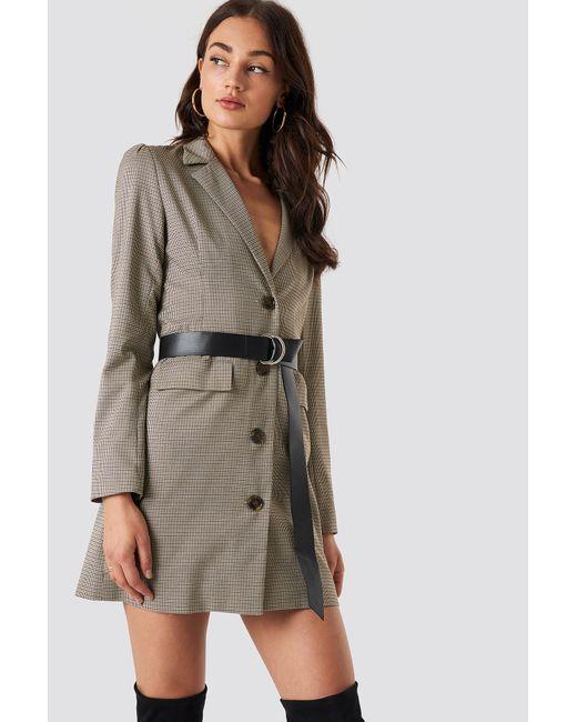 NA-KD - Gathered Waist Blazer Dress Brown - Lyst