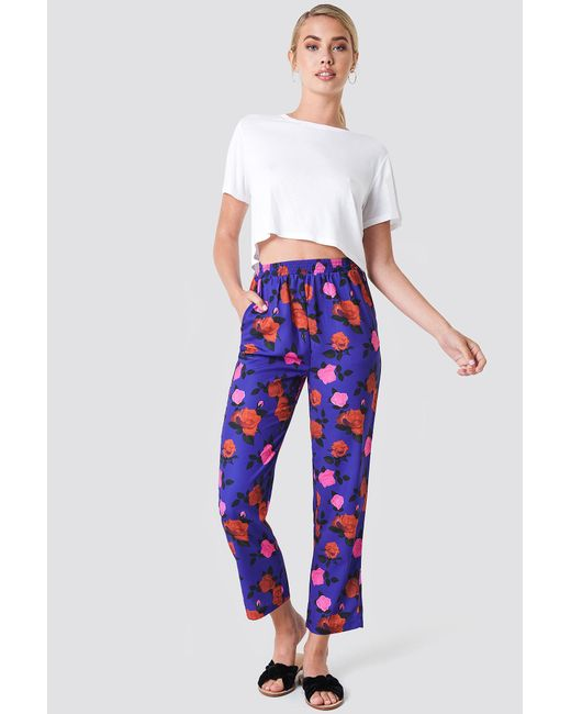 NA-KD - Blue Elastic Waist Straight Pants Cobalt Rose Pattern - Lyst