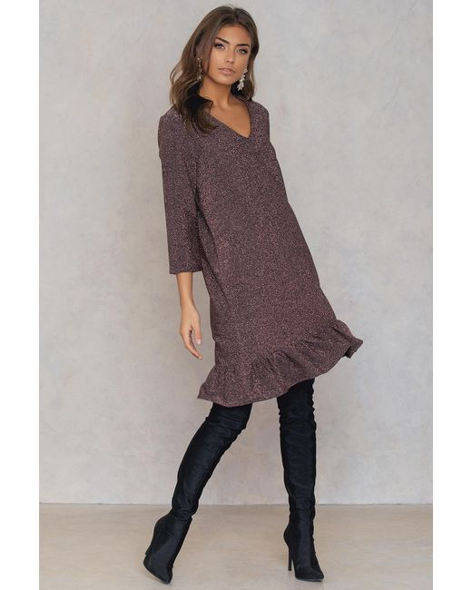 NA-KD - Pink Bottom Frill Sleeve Dress - Lyst