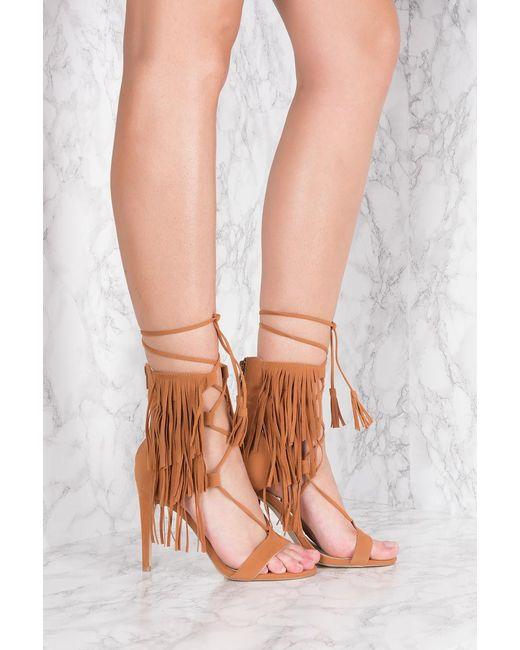 NA-KD | Brown Fringes Layer Strap Heels | Lyst