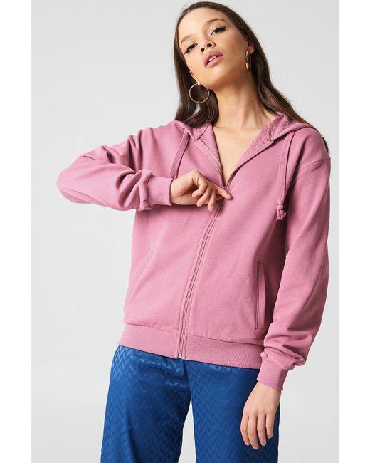 NA-KD - Basic Zipped Hoodie Pink Rose - Lyst