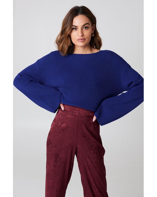 NA-KD - Blue Cropped Long Sleeve Knitted Sweater - Lyst