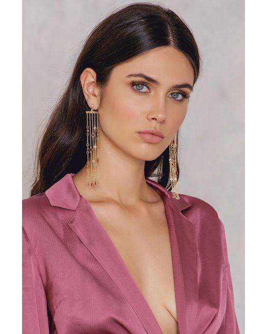 NA-KD - Metallic Hanging Colored Rhinestone Earrings - Lyst