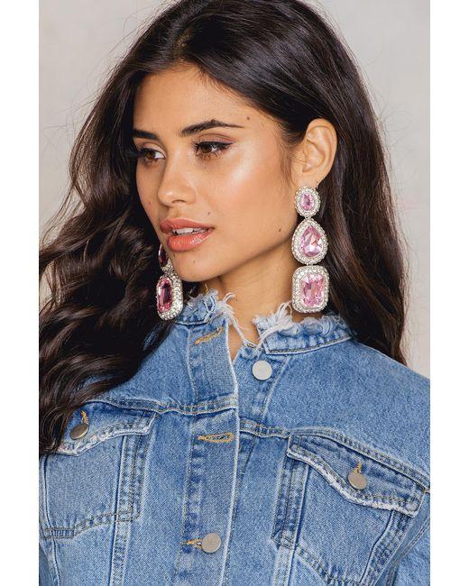 NA-KD - Pink Triple Big Rhinestone Earrings - Lyst