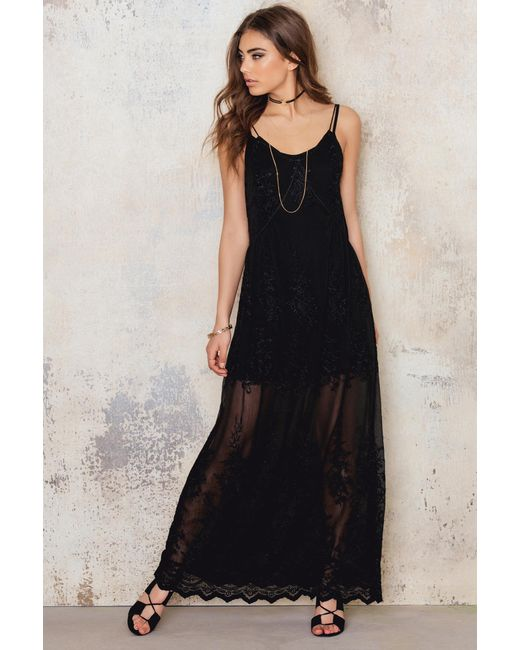 NA-KD | Black Embroidery Chiffon Long Dress | Lyst