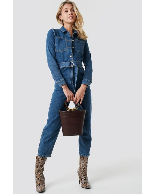 2ff176b35d1b Lyst - NA-KD Waist Belt Denim Jumpsuit Blue in Blue