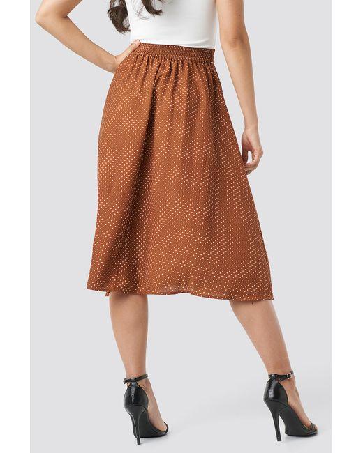 3ca845e3c5 ... NA-KD - Dotted Midi Skirt Brown - Lyst ...