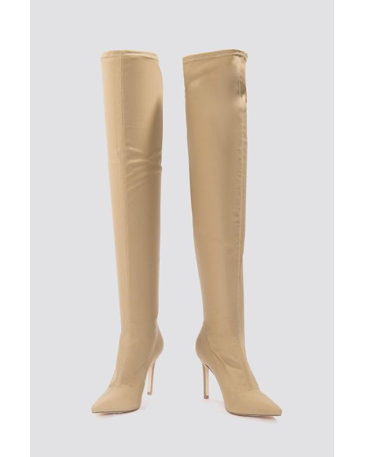 NA-KD - Brown Tight Over Knee Boot - Lyst