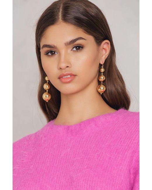 NA-KD - Metallic Small Globe Chain Earrings - Lyst