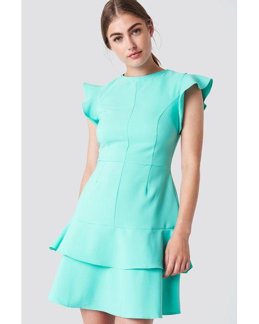 Trendyol - Flounce Shoulder Mini Dress Green - Lyst