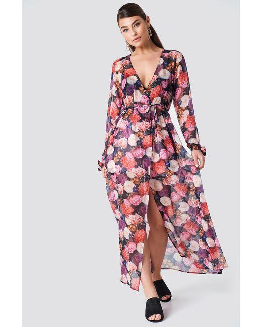 ad010a408c NA-KD - Open Sleeve Chiffon Coat Dress Multicolor - Lyst ...