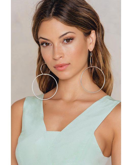 NA-KD - Metallic Big Double Ring Earrings - Lyst