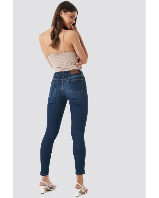 047897cefe35 Lyst - NA-KD Skinny Mid Waist Front Panel Jeans Dark Blue in Blue