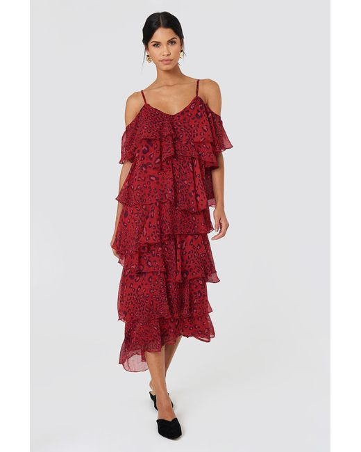 NA-KD - Red Cold Shoulder Flounce Midi Dress - Lyst