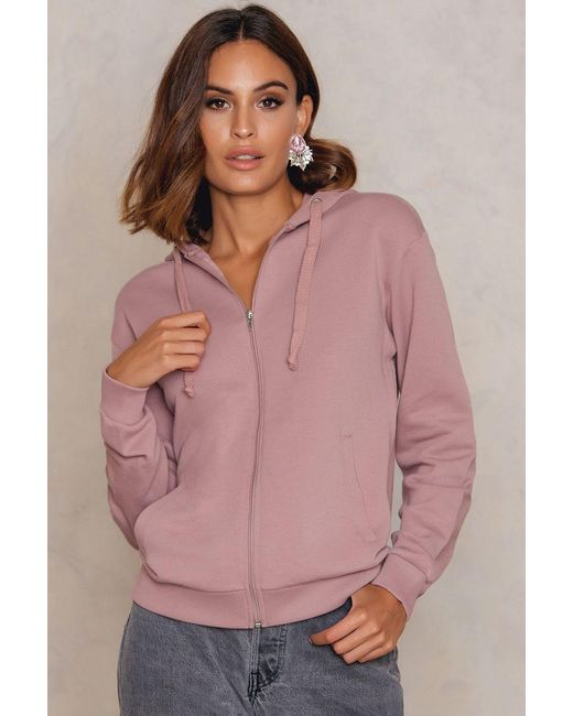 NA-KD | Pink Basic Zipped Hoodie | Lyst