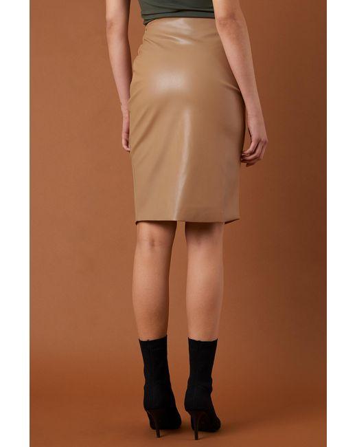 cc0a2e3ad7 ... NA-KD - Brown Draped Pu Skirt Tan - Lyst ...