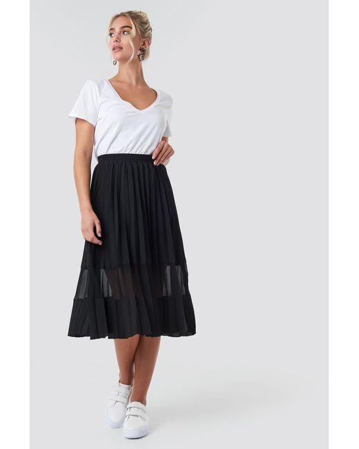 4e79b4aa3a NA-KD Co-ord Pleated Panel Midi Skirt Black in Black - Lyst