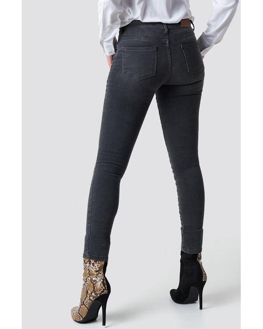 b8f0d12b298b ... NA-KD - Gray Skinny Mid Waist Front Panel Jeans Grey - Lyst ...