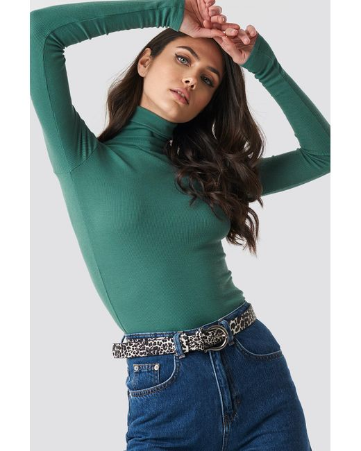 44b97b1f66f649 Lyst - NA-KD Ribbed Polo Long Sleeve Top Dusty Green in Green