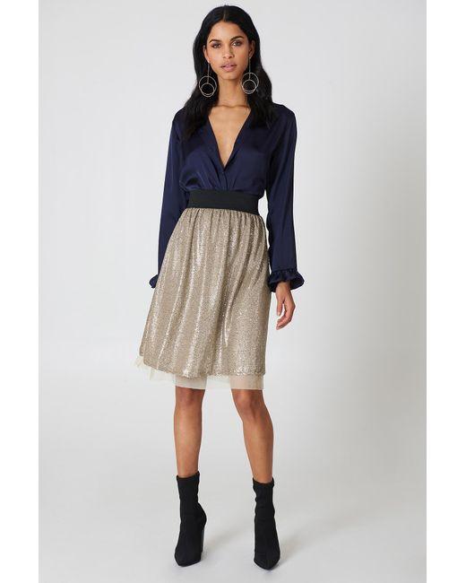 16902541e11ef Free People - Multicolor Flashing Light Midi Skirt Taupe - Lyst ...