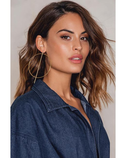 NA-KD   Metallic Big Round And Straight Earring   Lyst