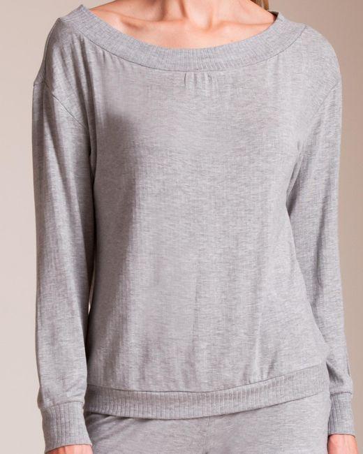Cosabella - Gray Alessandra Long Sleeve Top - Lyst