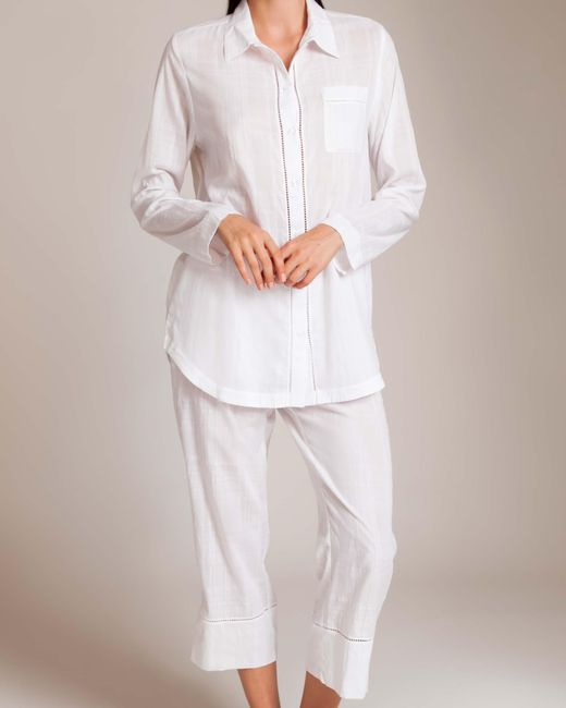 Skin | White Cotton Woven Shadow Pajama | Lyst
