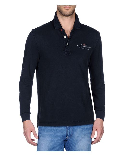 Napapijri | Blue Long Sleeves Polo for Men | Lyst