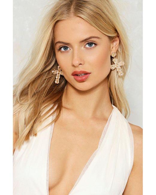 Nasty Gal | Metallic Elena Cross Earrings | Lyst
