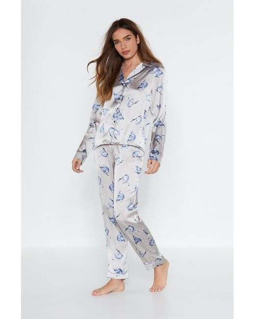 dd9c8a1fe6 Nasty Gal - Blue Sloth Print Satin Button Thorugh Pj Trouser Set - Lyst ...