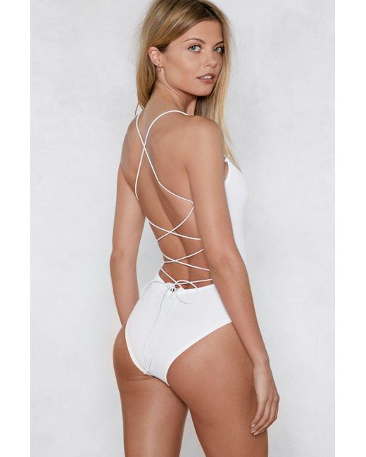 6ccbfdebfe ... Nasty Gal - White Back In Business Strappy Bodysuit - Lyst ...