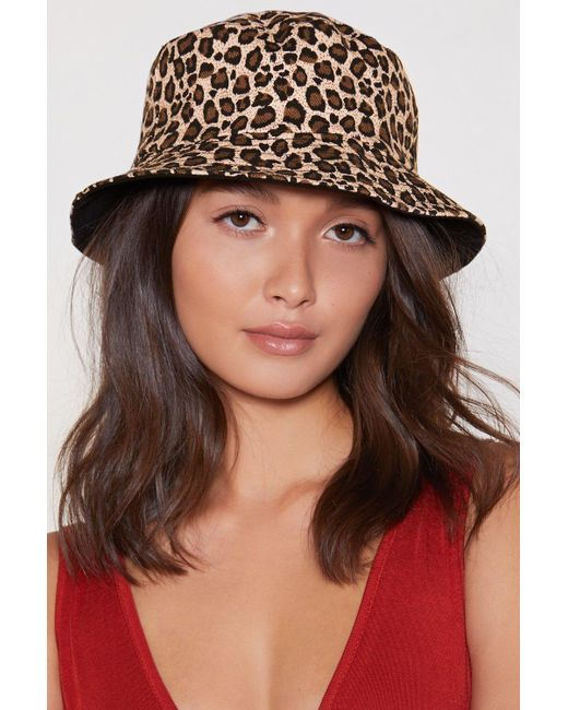 Nasty Gal - Brown Can't Be Tamed Leopard Bucket Hat - Lyst