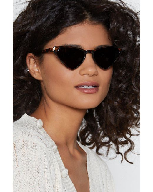 Nasty Gal - Brown Play All The Angles Angular Cat-eye Shades - Lyst