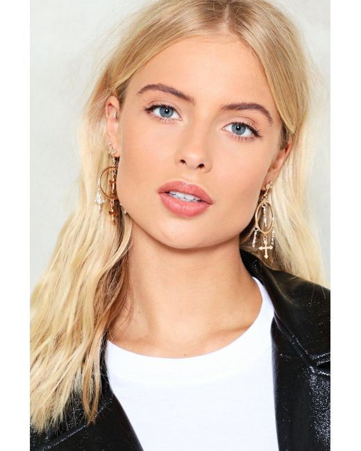 Nasty Gal | Metallic Hanging Crosses Hoop Earring Hanging Crosses Hoop Earring | Lyst