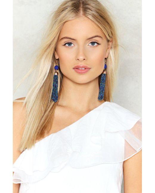 Nasty Gal | Blue Drop In Tassel Earrings | Lyst