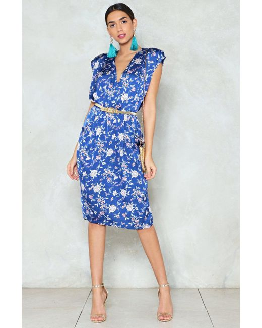 Nasty Gal - Blue Let's Grow Wild Floral Dress - Lyst
