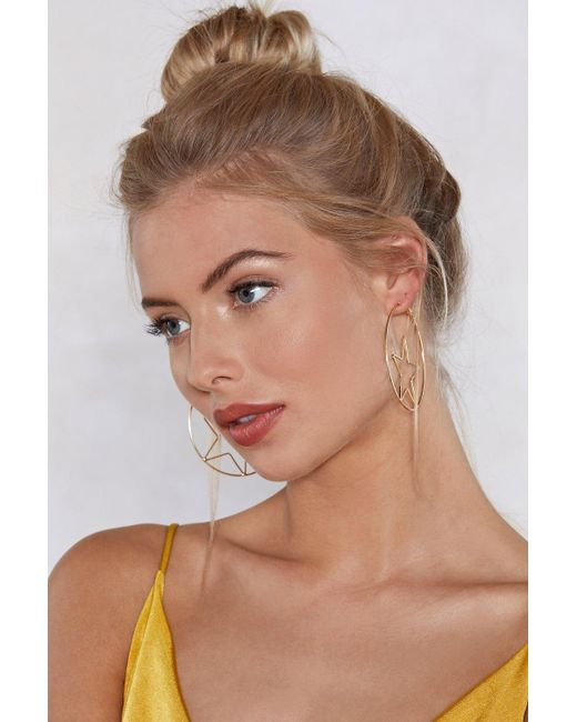 Nasty Gal - Metallic Let The Stars Align Hoop Earrings - Lyst