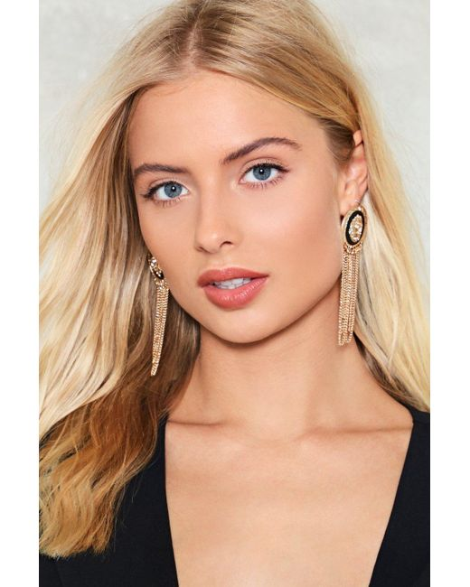 Nasty Gal - Metallic Swingin' With My Eyes Closed Chain Earrings - Lyst