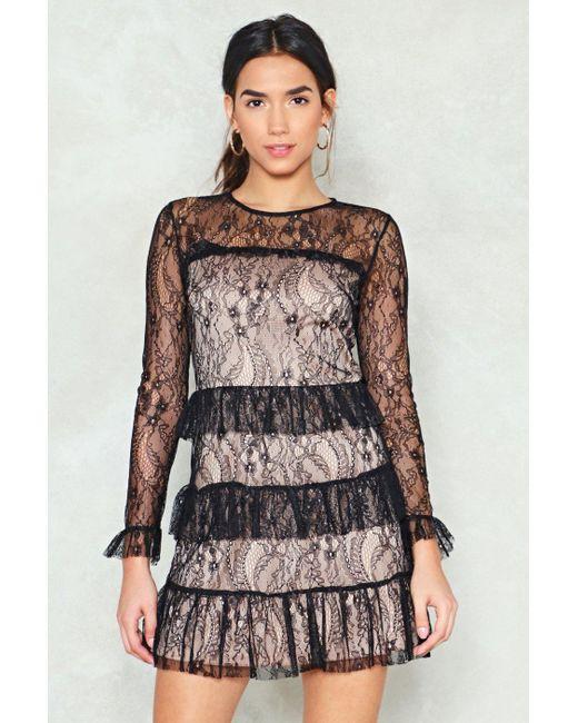 Nasty Gal - Black Lace It Head-on Ruffle Dress - Lyst